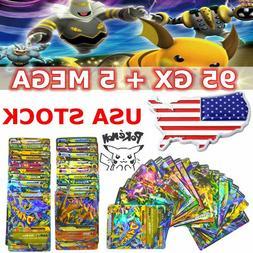 100Pcs Pokemon Cards 95 GX + 5 MEGA Holo Trading Flash Card