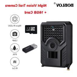 BOBLOV 16GB 12MP 1080P Hunting Scouting Game Camera 49PCS IR
