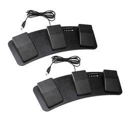 2pcs Black Plastic USB Triple Foot Switch Pedal Control Keyb