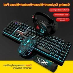 3Pcs Wired LED Gaming Mechanical Keyboard +Mouse + Headset +