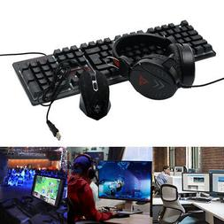 4Pcs Keyboard Set Pad Gaming Mouse Computer Backlight Headse