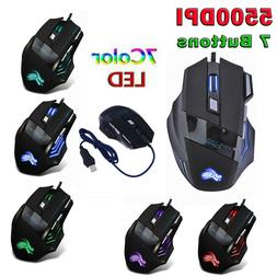 5500DPI LED Optical USB Wired Gaming Mouse 7 Buttons Mice fo