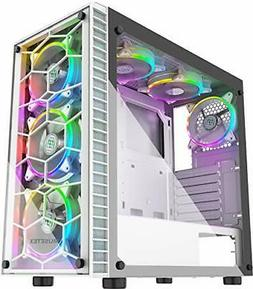 ATX Mid-Tower Computer Gaming Case with 6 PCS × 120mm LED A