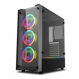 ATX Mid Tower Computer Gaming Case W/ 3pcs DR12 PRO RGB Fan