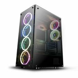ATX Mid-Tower darkFlash Phantom Desktop Gaming DIY PC Case+6