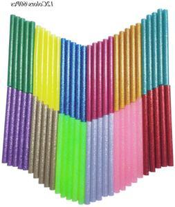 Glitter Hot Glue Sticks Baffo 60PCS 12 Colors Hot Glue Stick