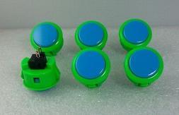 Japan Sanwa Mix Buttons Green Blue x 6 pcs Video Game Arcade