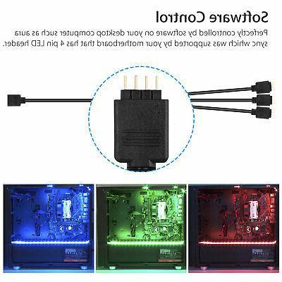 3Pcs RGB Gaming Strip Case Gamer DIY with Sync PC