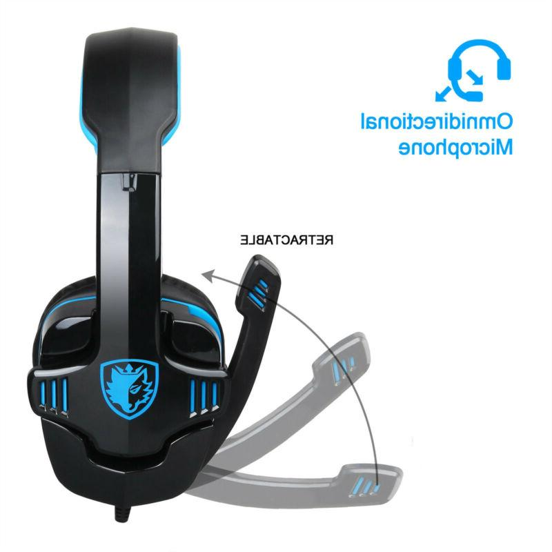 Sades Upgrade Gaming Headset w/Mic for PS4 Blue