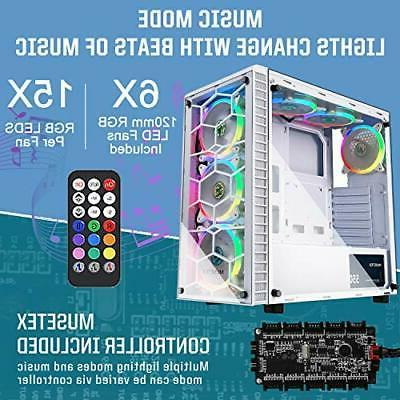 ATX Mid-Tower Computer Gaming Case with G05MS6-BB(6PCS RGB FANS )