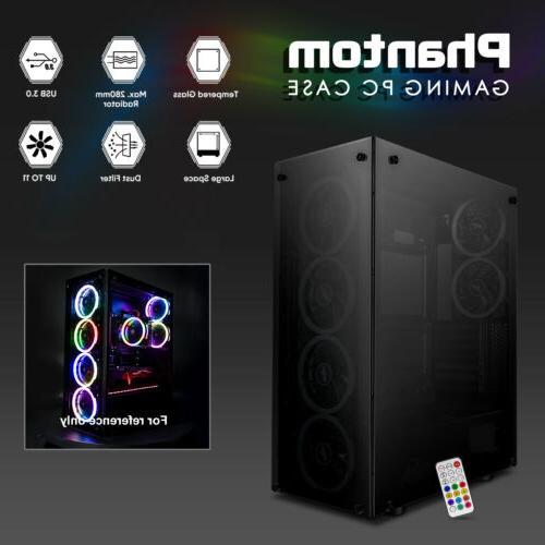 darkFlash Mid-Tower Phantom Desktop PC Case+6pcs
