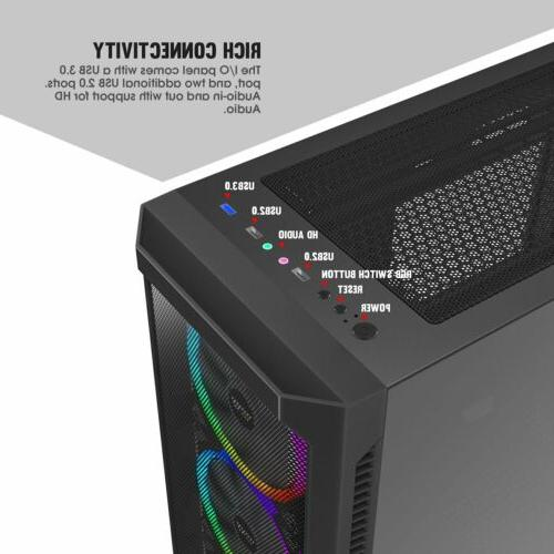 darkFlash Gale Full Computer Case with 3pcs RGB Fan