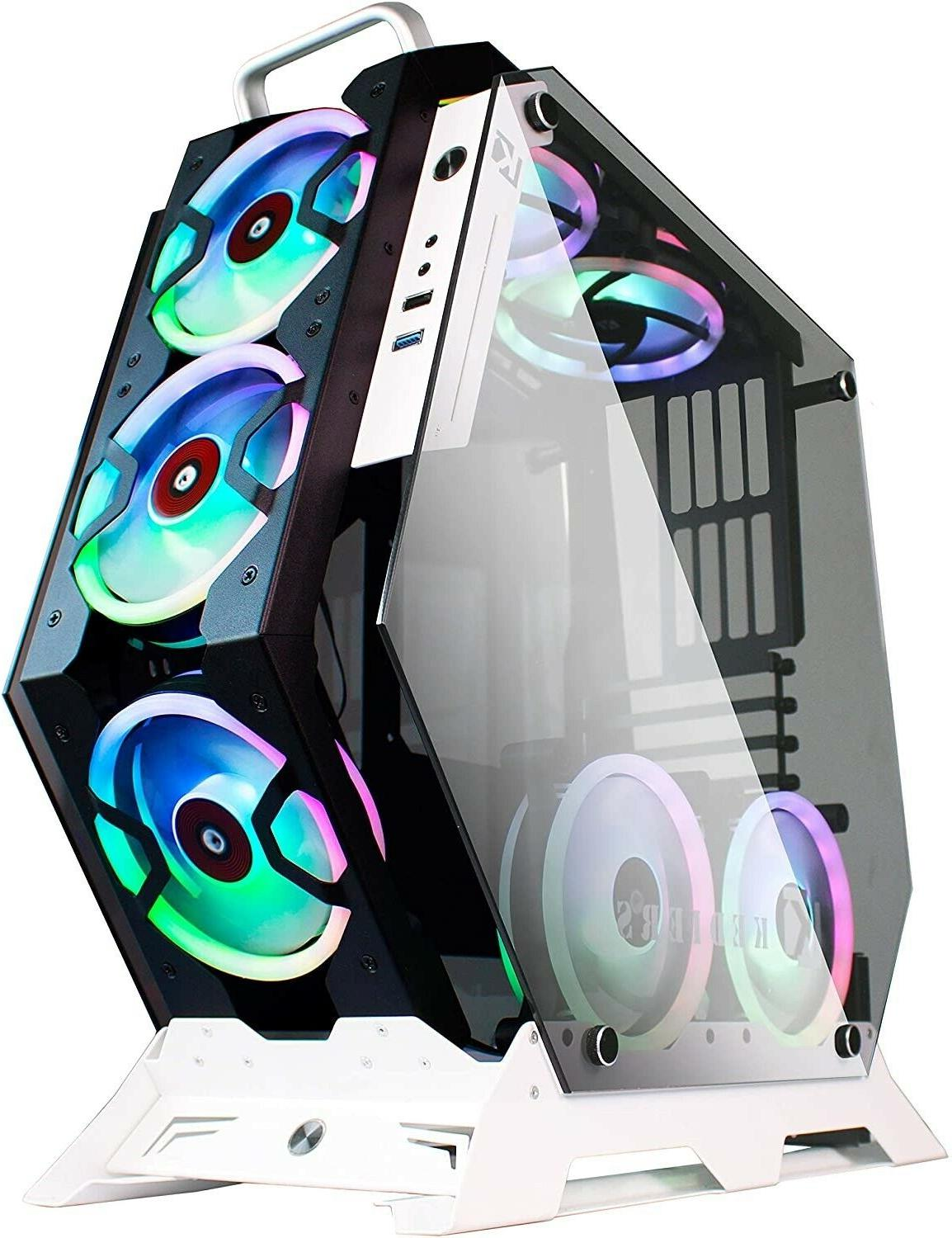 gaming pc case mid tower open computer