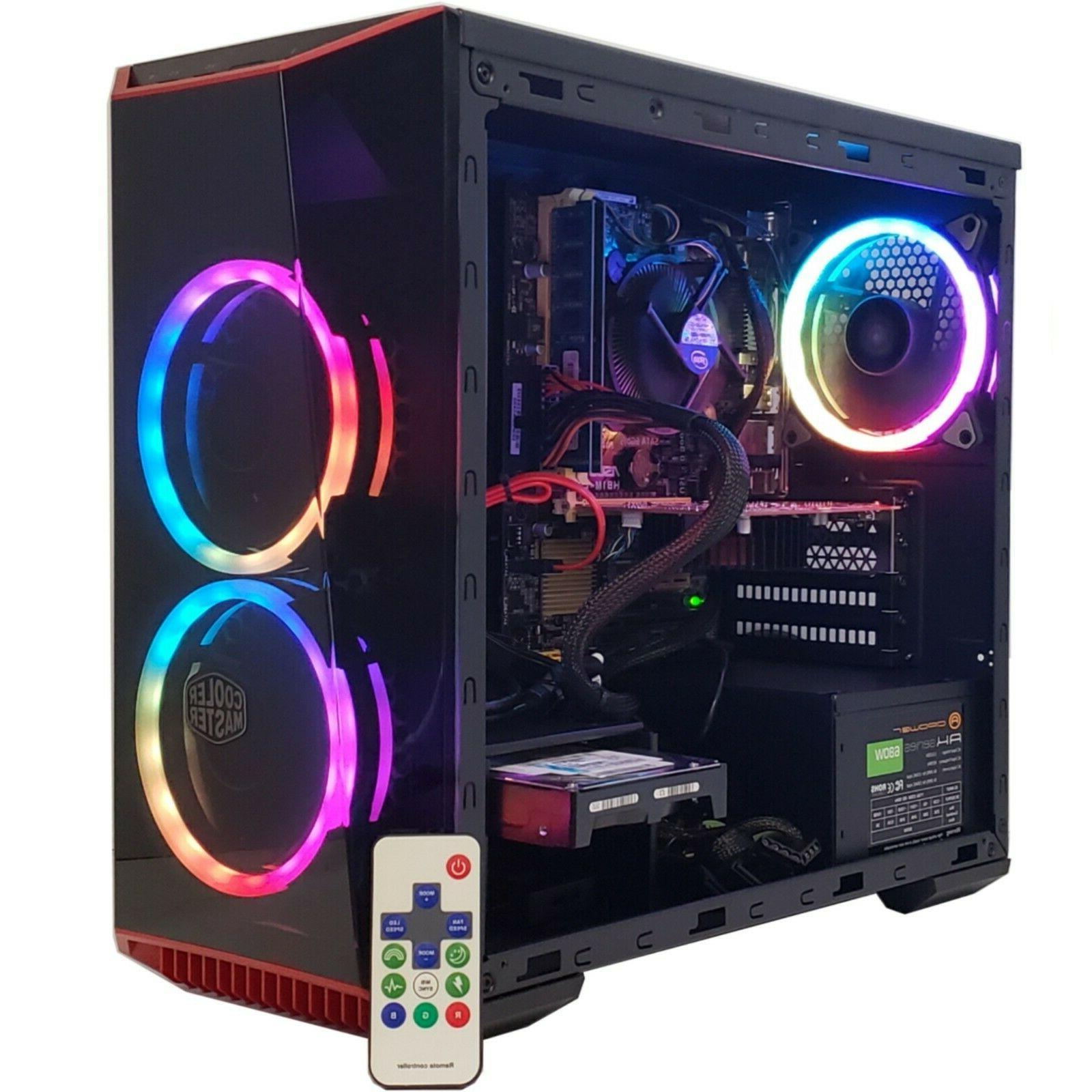 GAMING PC RGB DESKTOP COMPUTER RYZEN 3 8GB RAM RADEON RX 460