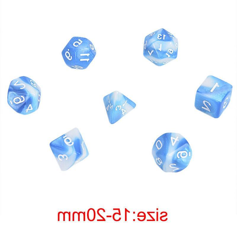 Polyhedral Mixed Color 7pcs/Set For Board Games D4,D6,D8,D10,D%,D12,D20