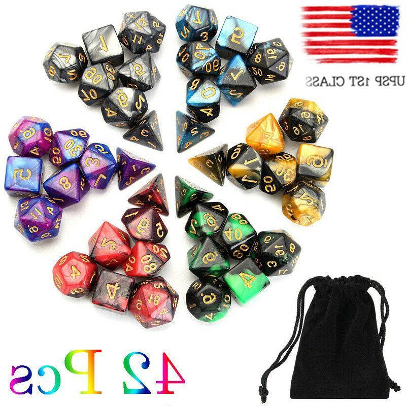 usa 6 colors 42pcs polyhedral dice set
