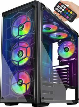 Mid Tower Desktop Computer Gaming Case USB 3.0 Ports Tempere