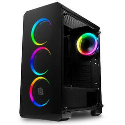 Deco Gear Mid-Tower PC Gaming Computer Case - Full Tempered