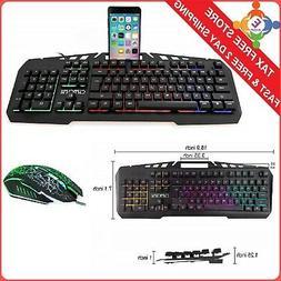PC Gaming Keyboard w/ Phone Holder Kit USB Wired RGB Light W