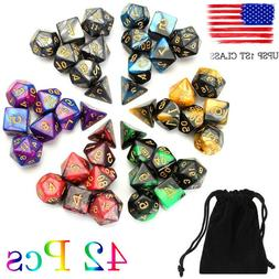 USA 6 Colors 42pcs Polyhedral Dice Set for DND RPG MTG Game