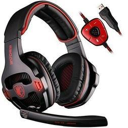 USB Wired Gaming Headset 7.1 Surround Stereo Headband Headph