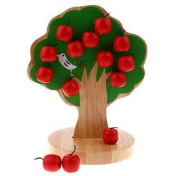 Wooden Educational Toy - Magnetic Apple Tree with 15pcs Appl
